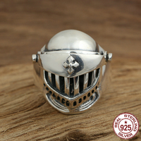 S925 sterling silver ring personality fashion jewelry vintage engraving cross helmet armor punk men's ring 2018 new hot