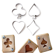 4 Pcs/set Poker Cookie Cetakan Stainless Steel Bermain Kartu Kue Fondant Cetakan Spade Jantung Klub Berlian Biskuit Cutter(China)
