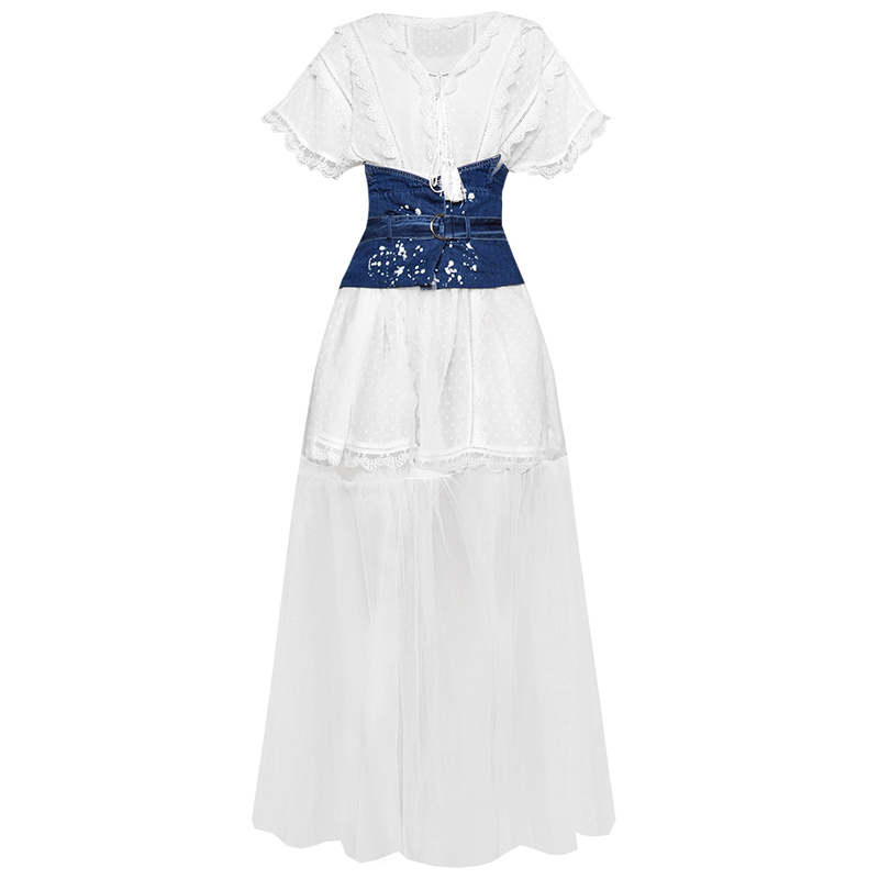fashion outfit summer 2019 woman set tassel v neck crochet polka dots white dress denim waist
