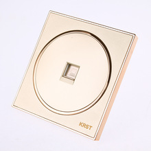 Wall Switch Socket, 86-Type High-End Home Decoration Round Extreme Gold Piano Paint, Network Cable Computer Socket Panel, 10A PC