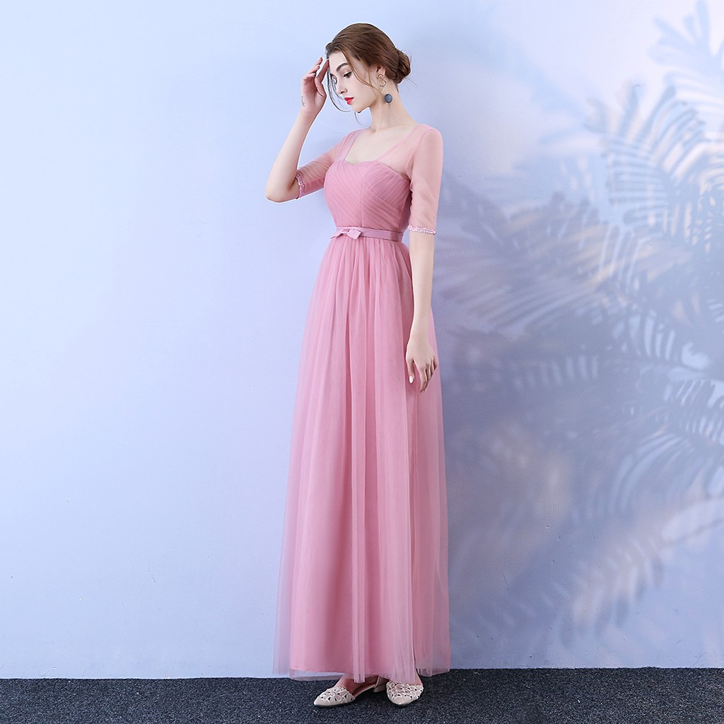 New Fashion Long Dress Women Dress for Wedding Party Bridesmaid Dress Back of Bandage