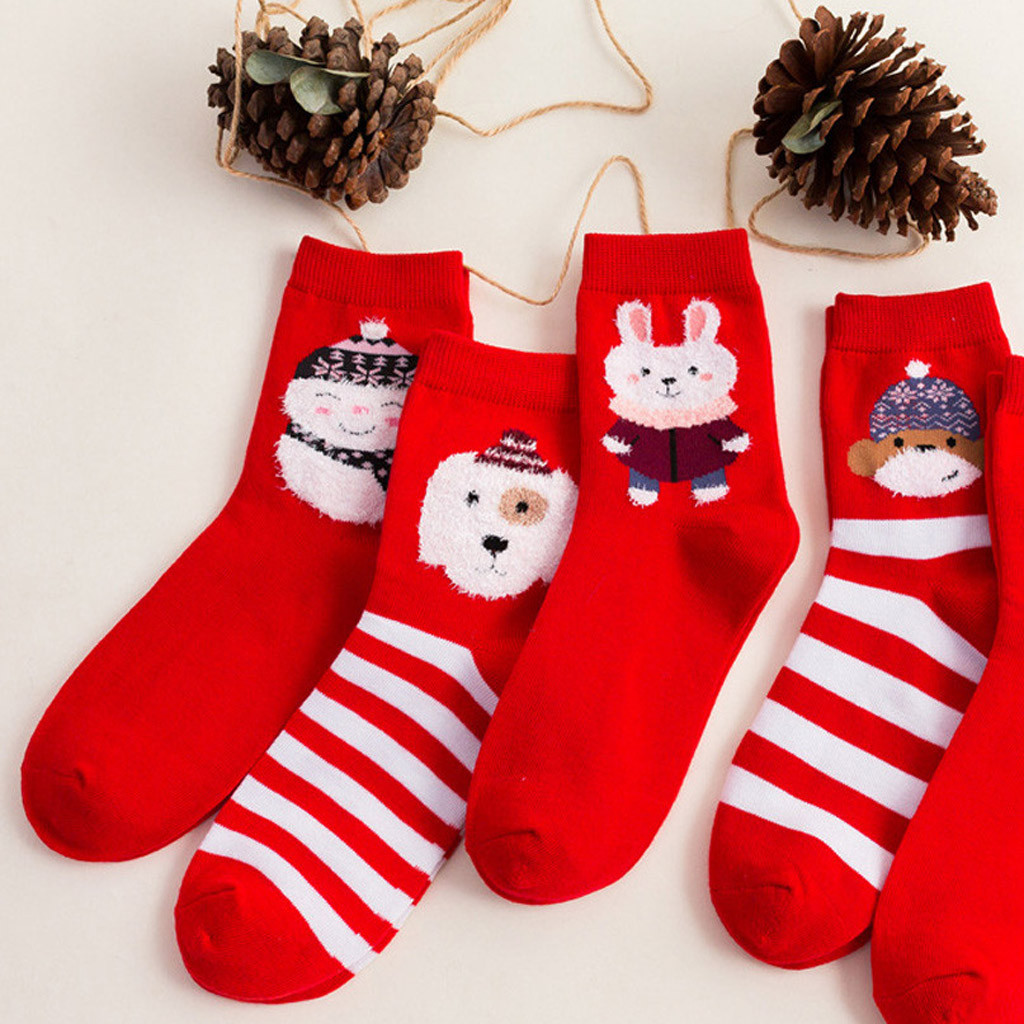 Winter Women Girls Bear rabbit pattern Print Cartoon Red Mid Tube Socks Cotton Xmas Socks Stripe Short Ankle Soxs Wholesale VC