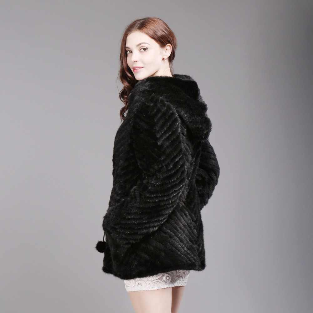 356020488 ... Hot Sale Women Knitted Real Mink Fur Coat Fashion Lady 100% Natural  Long Hooded Mink