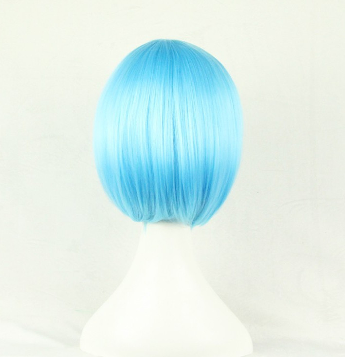 Cosplay Wig Fei-show Synthetic Heat Resistant Fiber Wavy Sky Blue Inclined Bangs Hair Student Hairpiece Short Salon Party Peruca Hair Extensions & Wigs Synthetic Wigs