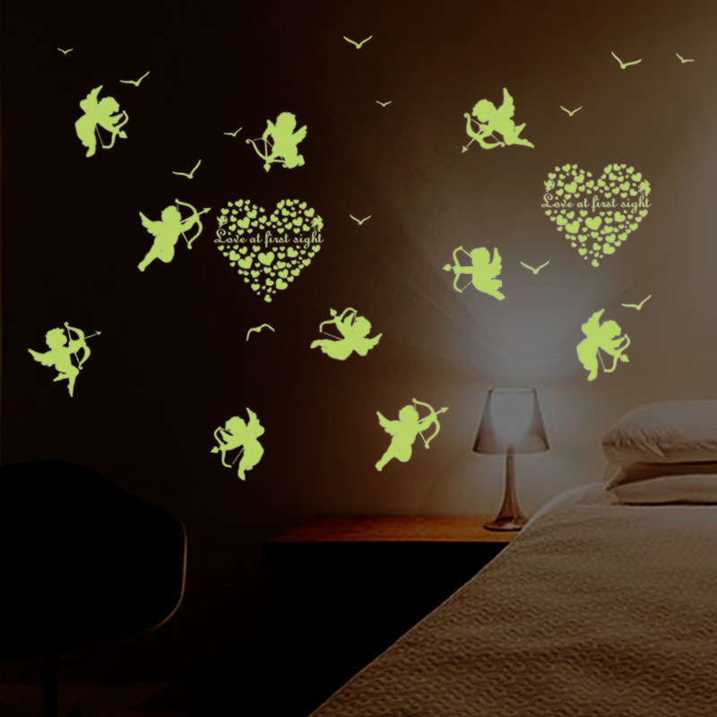 Cupid small luminous stickers living room bedroom children for 6 letter word for living room