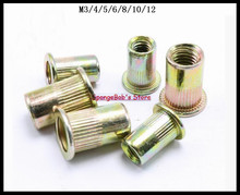 M3 M4 M5 M6 M8 M10 M12 Metric Thread Carbon Steel Flat Head Blind Insert Rivet Nut Flat Head Rivet Nut