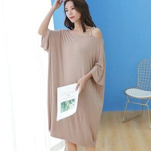 Image 2 - 2019 summer plus size night dress women loose soft sexy strapless sleepwear nightgowns sleepshirts sleepdress home outfits