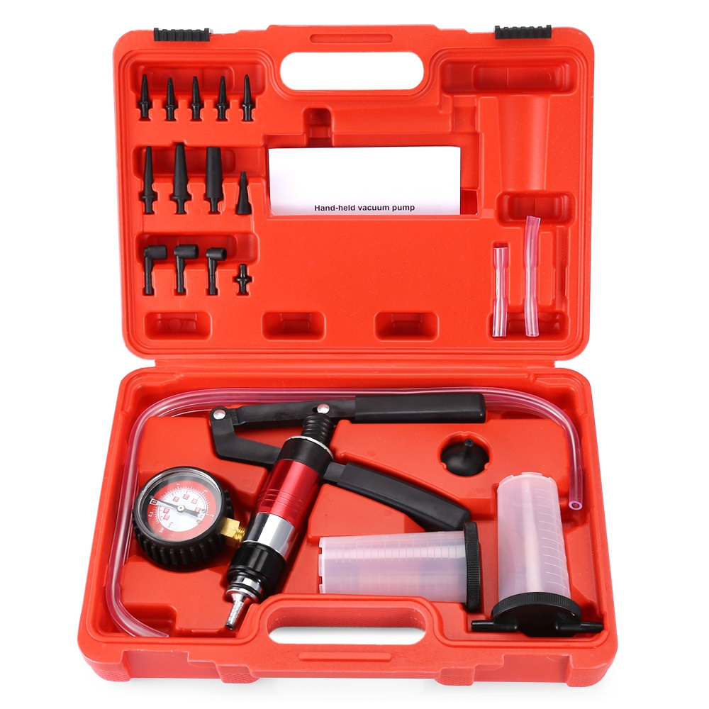 Multifunctional Hand Held Vacuum and Pressure Pump Tester Kit Brake Bleeder Complete Set for Car test vehicle settings operation