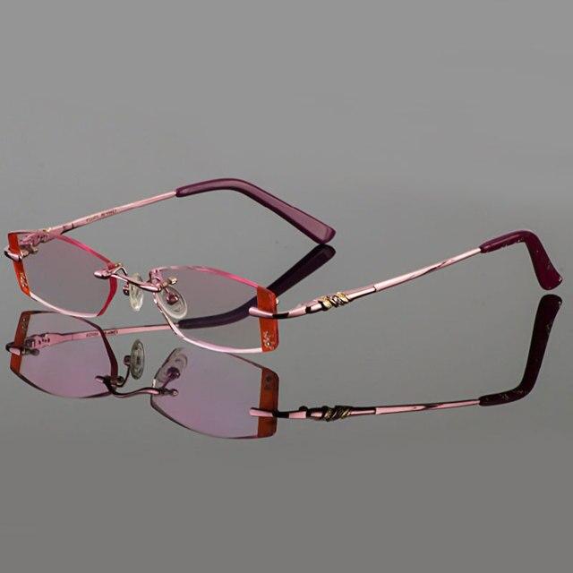 2015 новых женщин titanium отделка очки без оправы очки с бриллиантом обрезки готовой очки по рецепту