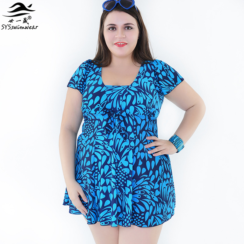 High quality New Summer Beach Plus Size Print One Pieces Summer dress for Women Swimwear with Sleeve Swimsuit Bathing suit inc international concepts plus size new black rose print dress 14w $129 5 dbfl
