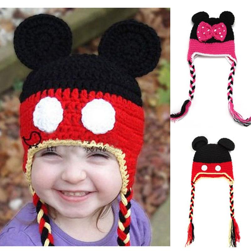 62cb97c8ac8 Cartoon Mickey Minnie Baby Hat Hand Crocheted Infant Newborn Earflaps Beanie  Cap Photography Props H060