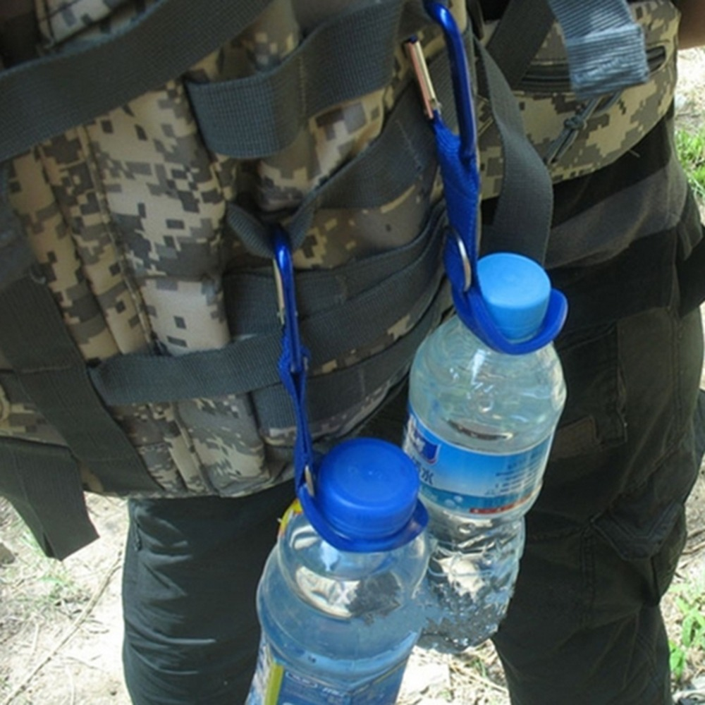 2016 New Carabiner Water Bottle Holder Camping Hiking Aluminum Rubber Buckle Hook outdoor tool kit