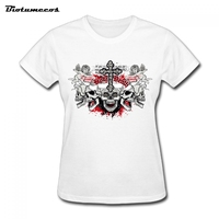 To Youth Summer Women T Shirt Skull Image Printed Loose Short Sleeve Casual T Shirt Girl