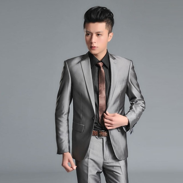 Spring and autumn slim male black matt shiny suit professional set ...