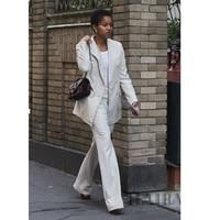 Элегантный белый тонкий формальный брючный костюм с 2 шт. топы и брюки для женщин Бизнес Рабочая одежда Брюки Костюмы Блузки и рубашки набор