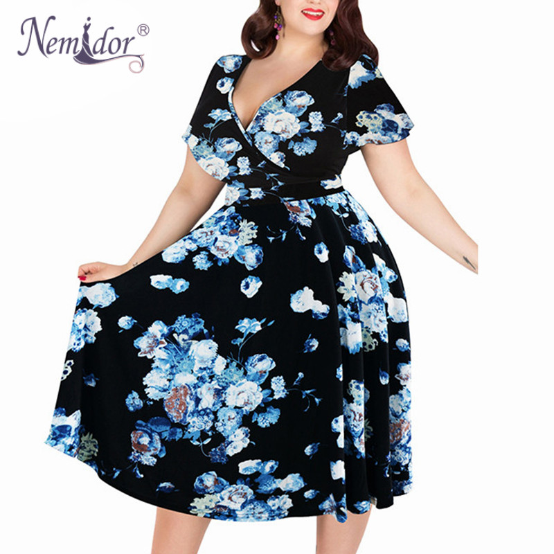 Nemidor Women Sexy V-neck Short Sleeve 50s Party A-line Dress Vintage Stretchy Midi Plus Size 7XL 8XL 9XL Cocktail Swing Dress 3