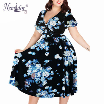 Women V-neck Short Sleeve 50s Party A-line Dress Vintage Stretchy Midi Plus Size 7XL 8XL 9XL 1