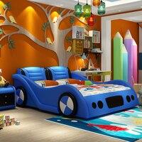 0817TB001 С изображением машины формы прекрасная детская кровать с безопасным забор натуральная кожа мягкая кровать для детей