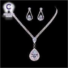 HanCheng Rhinestone Silver Plated Waterdrop Dazzle Clear White AAA Zircon Pendant Necklace Zircon For Women Jewelry Wedding