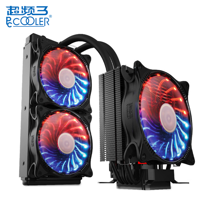 PCCOOLER CPU Radiator Starry Sky Intelligent Temperature Control PWM Dual Fan CPU Cooler Air Water Cooling Fan Quiet Radiator