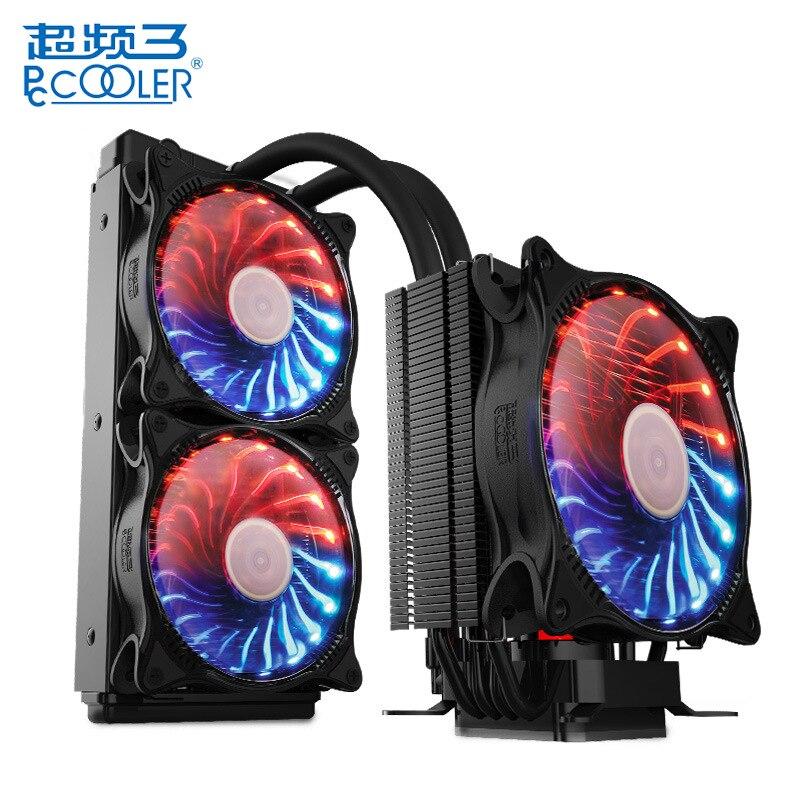 PCCOOLER CPU radiateur ciel étoilé Intelligent contrôle de température PWM double ventilateur refroidisseur de processeur Air eau refroidissement ventilateur silencieux radiateur