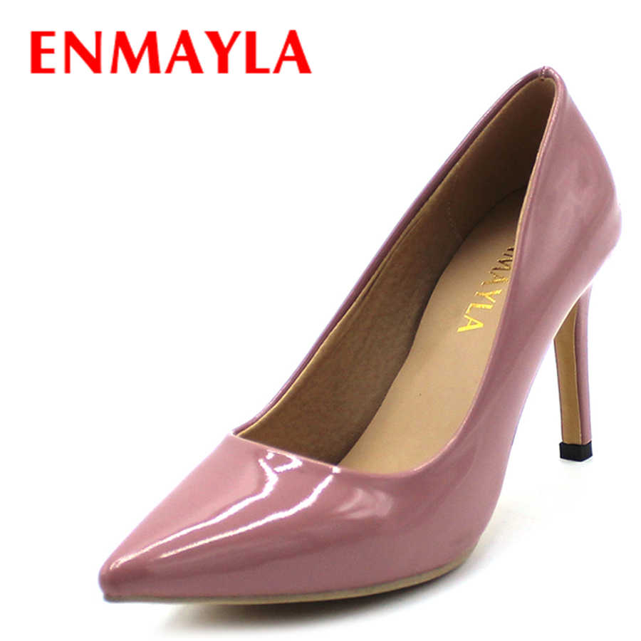 ENMAYLA High Heels Shoes Woman Pointed Toe Pumps Women Summer Shoes Female Sexy Red Black Brown Ladies Shoes Dress Shoes Woman