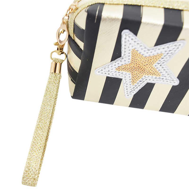 Estrelas listrado príncipe saco de mão-held bag makeup prata lantejoulas estrelas trazer luz À Prova D' Água de Viagem Nylon Saco de Cosmética Z0523 08 090