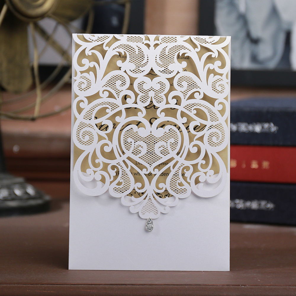 Laser cut lace pattern wedding invitations cards anniversary sale 2018,Wedding & Engagement thank you cards lot invitation