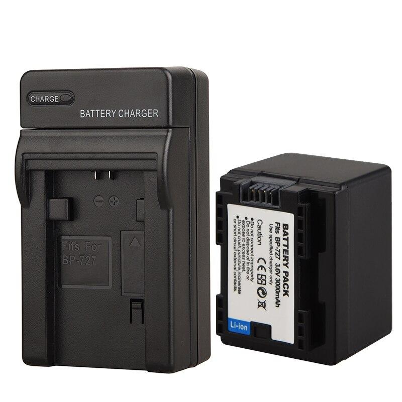 3000 mAh BP-727 BP 727 BP727 Batterie + Chargeur pour Canon VIXIA HF R30 M50 M52 M56 M506 R30032 R36 R38 R306 R400 R500 R600 R60 R62