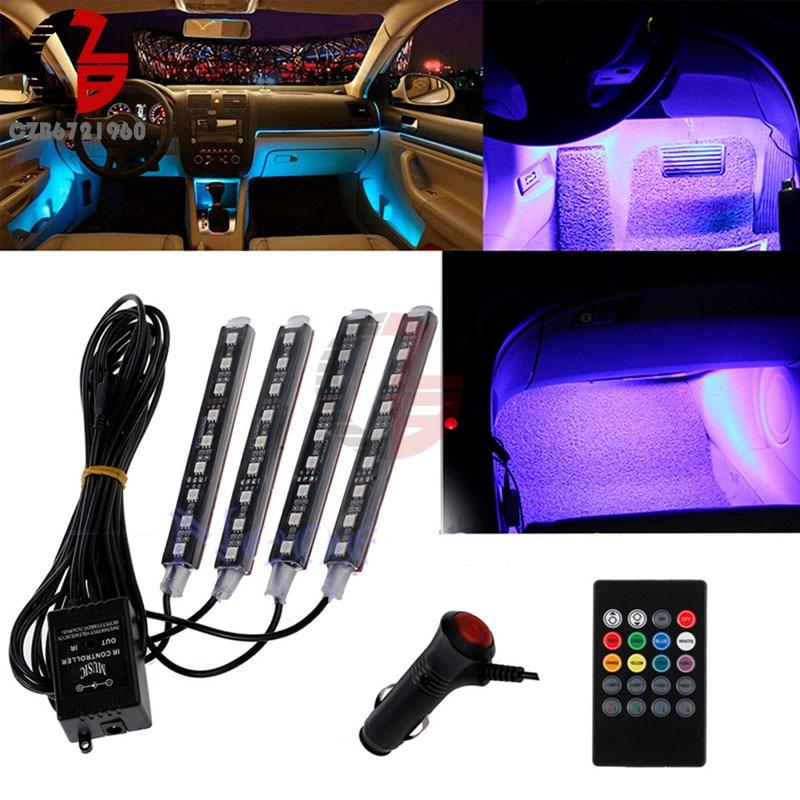 Auto Interni RGB COLOUR 9 LED STRIP LIGHT KIT WIRELESS MUSIC Control 7 Color