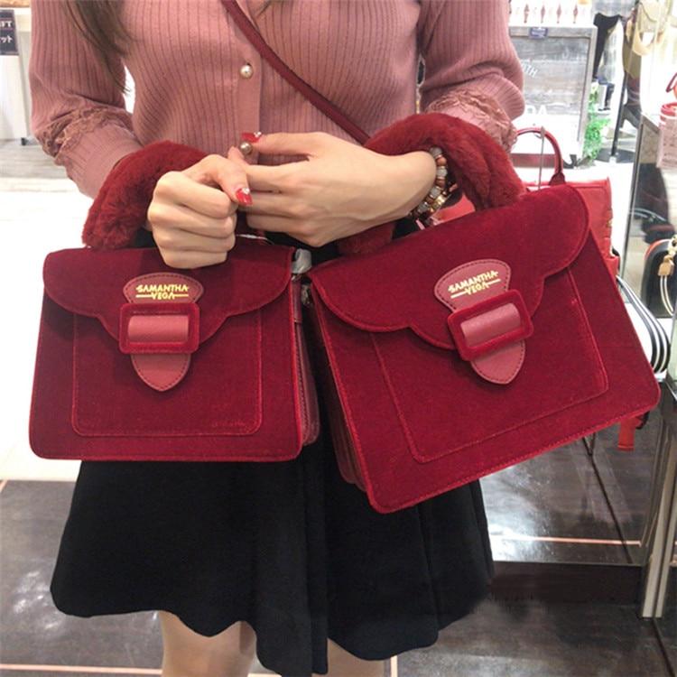 17 Christmas limited velvet suede handbag Samantha Vega plush handle organ shoulder bag Retro small flap square Messenger bag 4