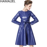 HAMALIEL Vestidos Plus Size Faux Leather Dress Newest 2018 Spring Women Blue PU Leather Long Sleeve Casual With Belt Dress S 2XL