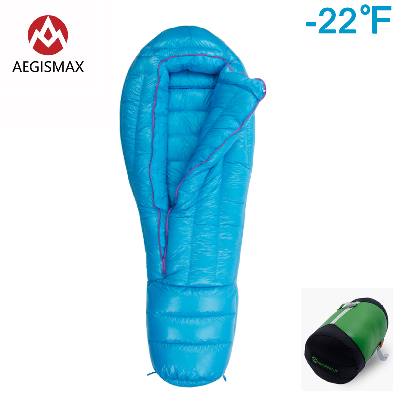 AEGISMAX ULTRA Sleeping Bag Outdoor Camping bag Goose Down Mummy Extreme Cold Weather Down Lengthene Adult Nylon Sleeping Bag