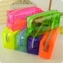 NOVERTY High quality colorful large capacity transparent plastic pen pencil case bag holder storage pencilcase stationery 04901