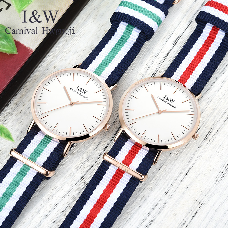 Carnival I&W Ultra-Thin 6MM Quartz Watch Women Nylon Strap Simple Watches Waterproof Girls Clock Top Brand Luxury reloj mujer цена