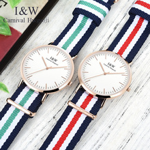 Carnival I&W Ultra-Thin 6MM Quartz Watch Women Nylon Strap Simple Watches Waterproof Girls Clock Top Brand Luxury reloj mujer