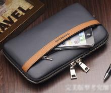Free shipping Men's Top Genuine Leather Business Day Clutch Wrist Bag Handbag Cash Card Case Checkbook Organizer handbag S3338