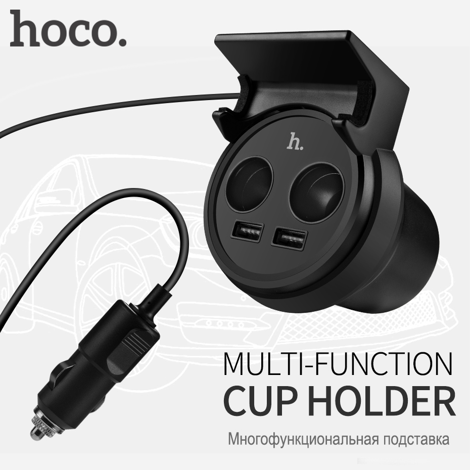bilder für HOCO Tasse Form Auto-ladegerät Dual USB Doppel Leichter Port für Apple iPhone iPad Samsung Xiaomi Telefon Ladeadapter 3.1A