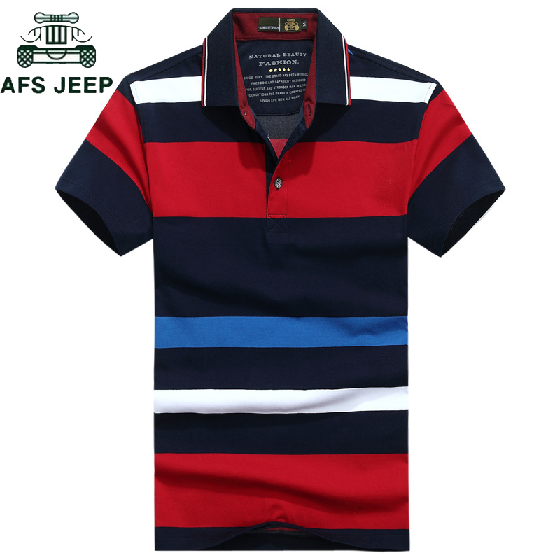 AFS JEEP Brand Striped   Polos   Shirt Men Tops&Tees Summer Cotton Breathable   Polos   para hombre Casual Camisa   polo   masculina M-3XL