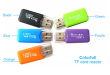 Portable Colorful High Speed USB 2.0 Micro SD T-Flash TF Memory Card Reader,Microsd Transflash to USB flash drive Adapter