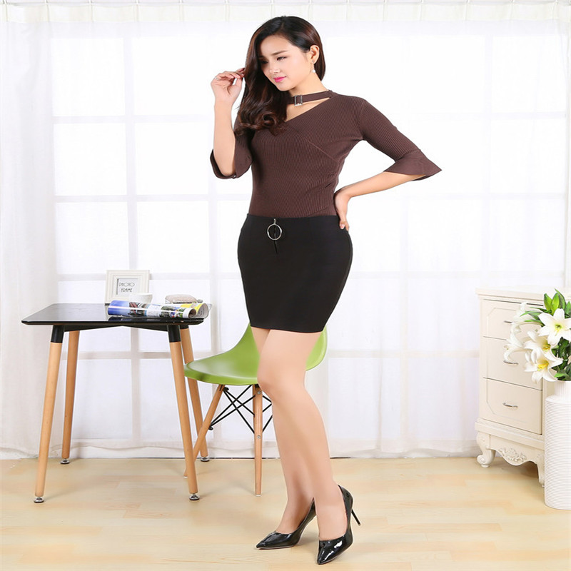 472115d2502e16 CW effen kleur elastische katoen strakke korte hip rok ronde knop rits voor vrouwen  lente zomer herfst winter werkkleding in CW effen kleur elastische ...