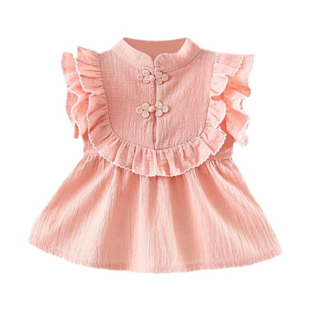9bfa29b064b Baby Girls Ruffle Sleeve Cotton Tops Stand Collar A line Blouse Summer Cute  and Casual Girls T Shirts Light Green/Pink-in Tees from Mother & Kids on ...