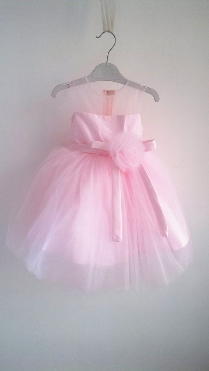 BABY WOW Pink Girls Dresses 1 Year Birthday Dress Girl Baby Christmas Gift Flower Girl Dresses