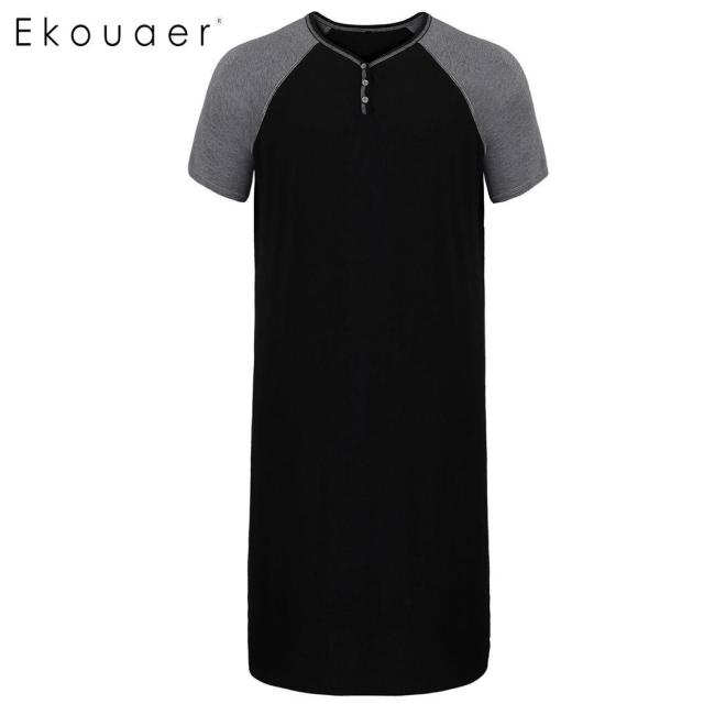 Ekouaer Men Sleepwear Casual Sleep Nightshirt Comfort Short Sleeve Lightweight Tall Sleepshirts Loose Nightwear Sleep Pajama