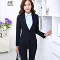 2015 Mujeres Formales Traje con Pantalones para Señoras de la Oficina Traje de Negocios Negro Oscuro azul Profesional del Desgaste Del Trabajo trajes pantalón Ropa