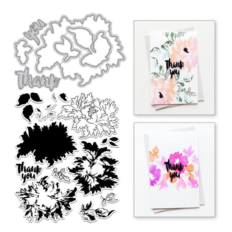 YaMinSanNiO Majestic Bloom Metal Cutting Dies Flower Clear Stamps And Dies For Scrapbooking Card Making Embossing Crafts Stencil