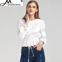 Avodovama M New Spring Fashion Casual Solid Women S Blouse Shirt Bow Lace Up Bandage Long