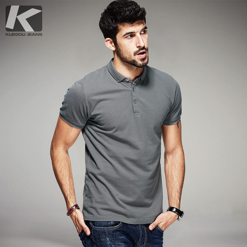 Kuegou 2017 summer mens 100 cotton polo shirts black for Men s 100 percent cotton dress shirts