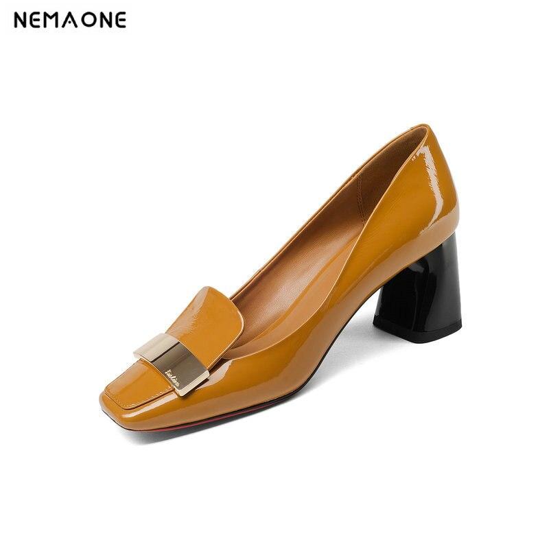 NEMAONE 2018 การออกแบบธรรมชาติของแท้หนังผู้หญิงรองเท้าผู้หญิงแฟชั่นคอลัมน์รองเท้าส้นสูงวันที่ปั๊ม Elegant เลดี้-ใน รองเท้าส้นสูงสตรี จาก รองเท้า บน   1