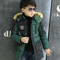 4-12 Ydegree russo inverno outwear crianças roupas de inverno crianças meninos de roupas À Prova D' Água jaquetas adolescente meninos para baixo casaco parkas